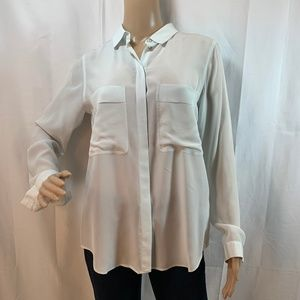 Club Monaco SZ S Light Blue Silk Button Down Shirt